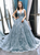 Gray Blue Ball Gown Tulle Appliques V-neck Backless Prom Dress