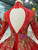 Red Ball Gown High Neck Backless Long Sleeve Sequins Appliques Wedding Dress