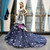 Navy Blue Mermaid Tulle Lace Appliques V-neck Backless Prom Dress