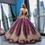 Purple Ball Gown Sequins Bateau Cap Sleeve Backless Haute Couture Prom Dress