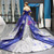 Blue And White Sequins Off The Shoulder Backless Appliques Haute Couture Prom Dress