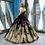 Black Ball Gown Velvet Gold Appliques Backless Long Haute Couture Prom Dresses