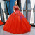 Red Ball Gown Tulle Appliques Bateau Backless Cap Sleeve Floor Length Prom Dress