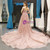 Pink Ball Gown V-neck Backless Lace Appliques Sequins Prom Dress