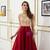A-Line Burgundy Satin High Neck Cap Sleeve Prom Dress With Beading
