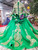 Green Ball Gown Tulle Gold Sequins High Neck Long Sleeve Wedding Dress