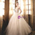 Champagne Tulle Lace Sweetheart Neck Wedding Dress With Beading