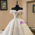 Luxury Champagne Ball Gown Lace Off The Shoulder Wedding Dress With Pearls