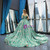 Green Ball Gown Sequins Off The Shoulder Wedding Dress With Train