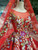 Red Ball Gown Tulle Embroidery Appliques Long Sleeve Wedding Dress With Removable Train