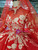 Red Ball Gown Tulle Appliques High Neck Long Sleeve Wedding Dress With Long Train