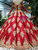 Red Ball Gown Gold Appliques Off The Shoulder Beading Wedding Dress