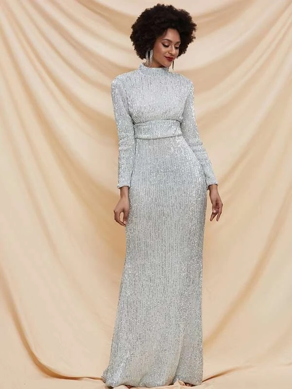 Silver Grey Sequins Formal Evening Party Prom Dress Mermaid Dress Lace Up Q391R