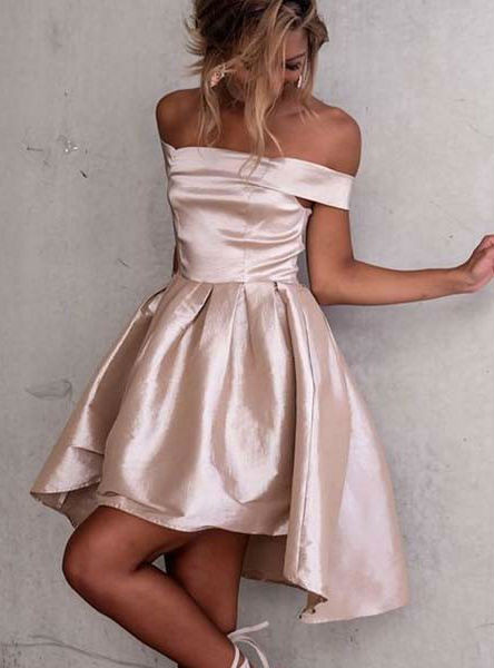 ec0f8e1fab High Low Off-the-Shoulder Light Champagne Satin Prom Homecoming Dress