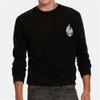 Embroidered Flame Skull Crew Sweatshirt - Black
