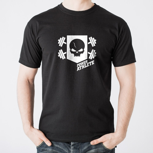 Men's Vintage Power Athlete Shield T-Shirt - Black