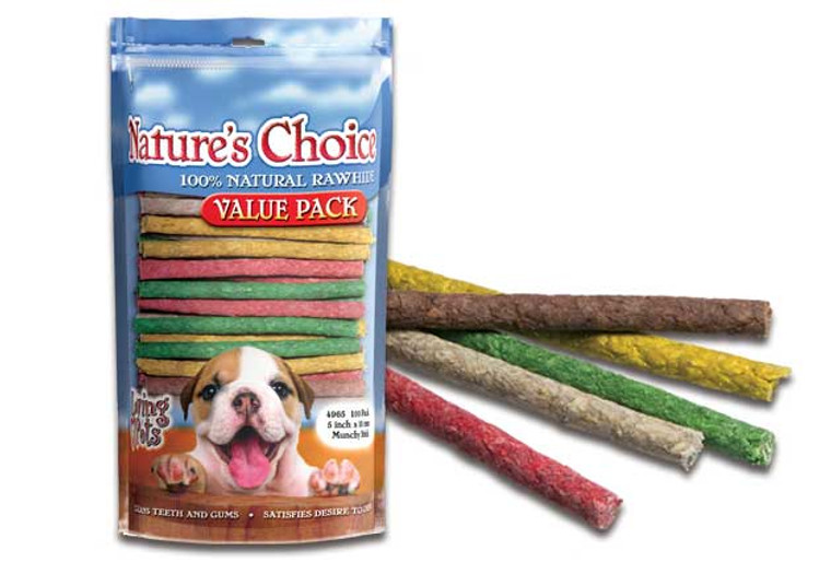 "Nature's Choice 5"" Assorted Munchy Sticks (100 Pack)"