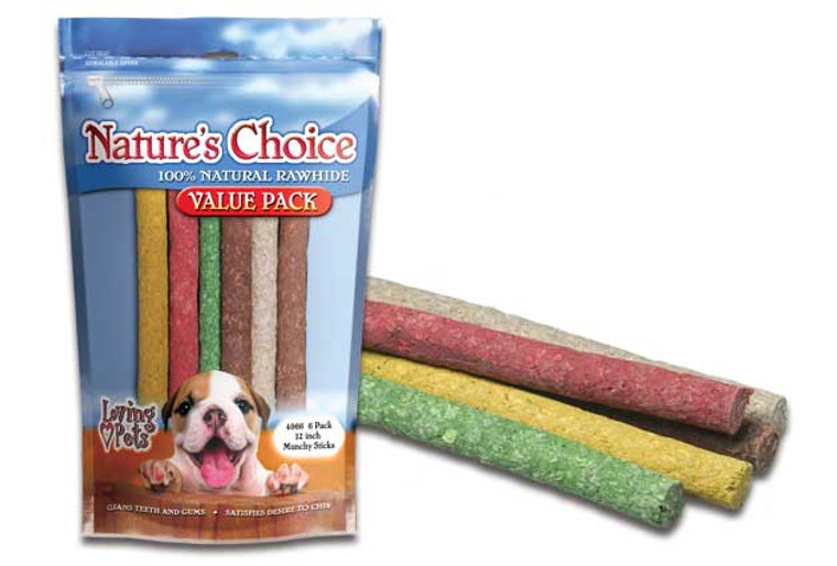 "Nature's Choice 12"" Assorted Munchy Sticks (6 Pack)"