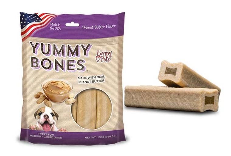 Yummy Bones Peanut Butter Flavor Dog Treats
