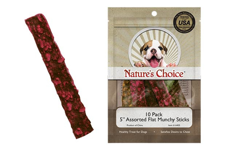 "Nature's Choice 5"" Assorted Flat Munchy Strips (10 Pack)"