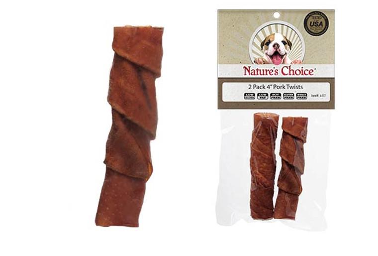 "Nature's Choice 4"" Pork Twist Sticks (2 Pack)"