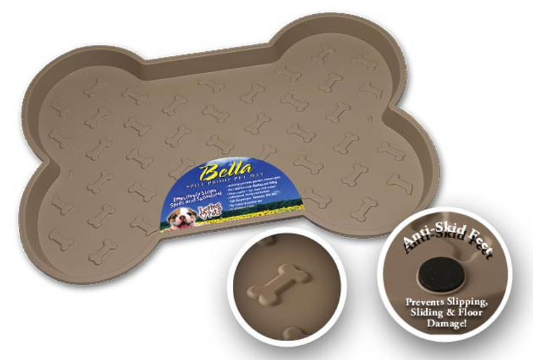 Bella Spillproof Bone-Shaped Mat for Dogs - Tan