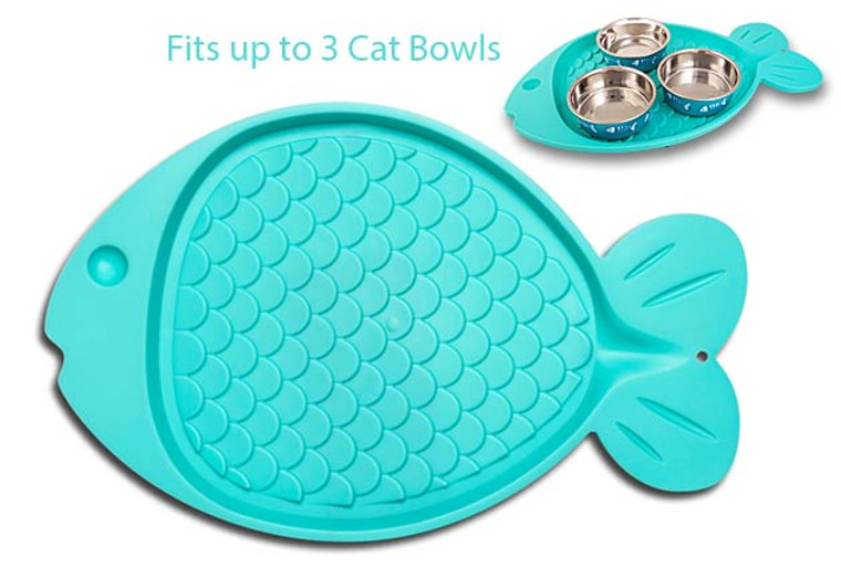 Bella Spillproof Fish-Shaped Mat for Cats - Green