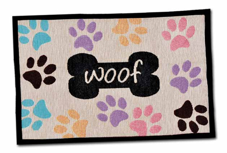 Woof with Multi Paws Fashion Mat