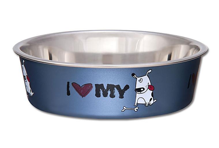 Bella Bowl - I love my Dog Steel Blue