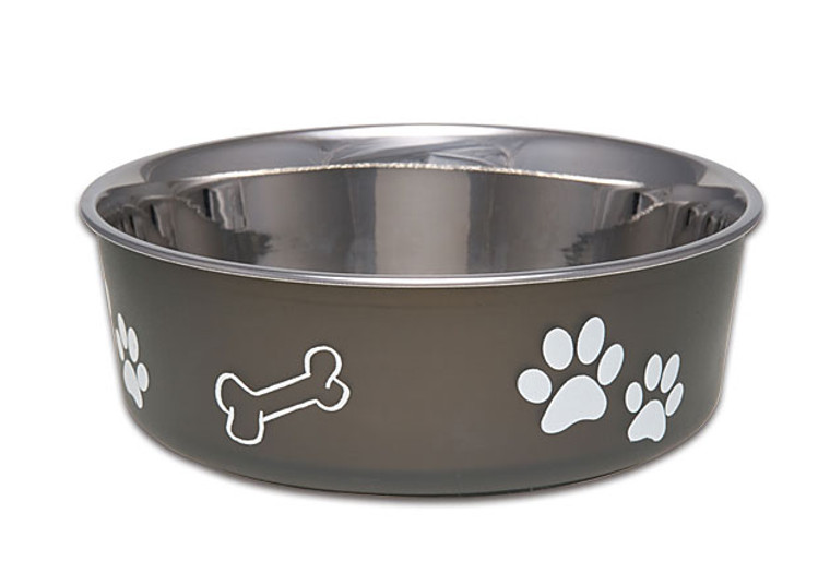 Stainless steel dog bowl in a rich espresso color.