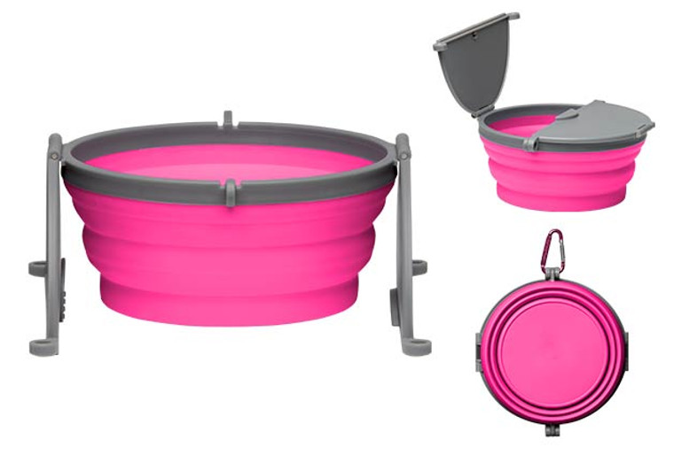 Bella Roma Travel Single Dog Bowl in Pink
