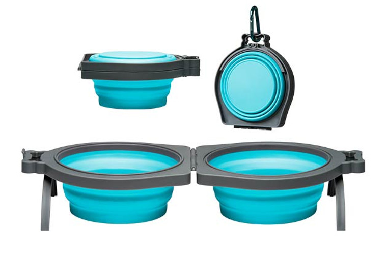 Loving Pets Bella Roma Double Travel Bowls for Dogs in Blue