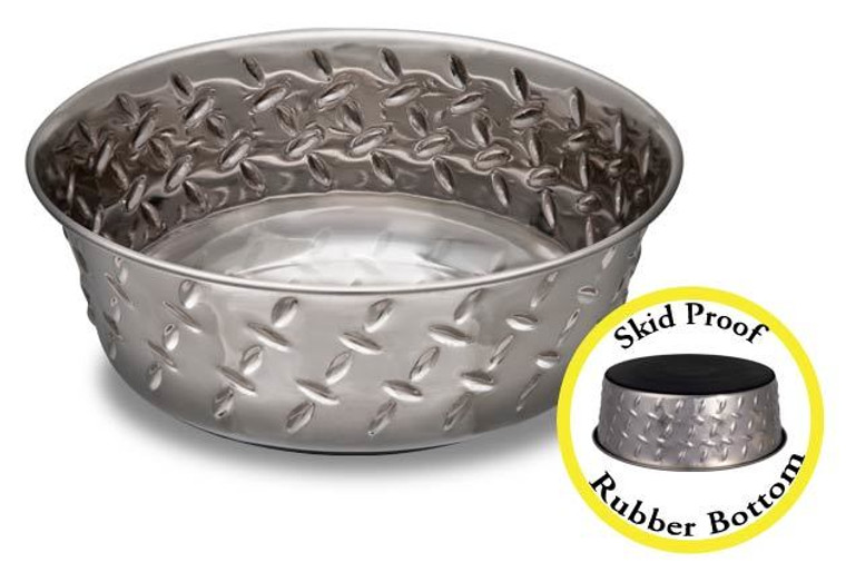 Diamond Plate Cat Bowl