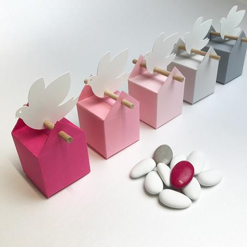 Kit cumulus rose, 10 boites à dragées et étiquettes
