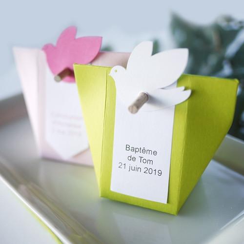 Etiquette colombe pour boîte à dragées Kabagami