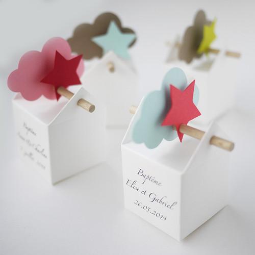 Boîte personnalisée, nuage, étoile et dragées