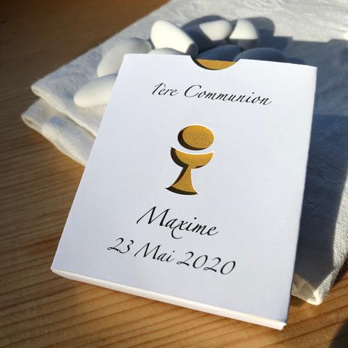 1 boîte Communion personnalisée, contenant à dragées