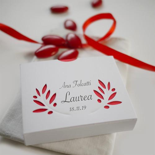 Lauréat - Laurea : contenant à dragées personnalisée