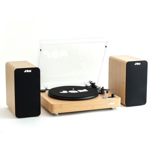 JAM Bookshelf Speaker & Stream Turntable Bundle - Wood