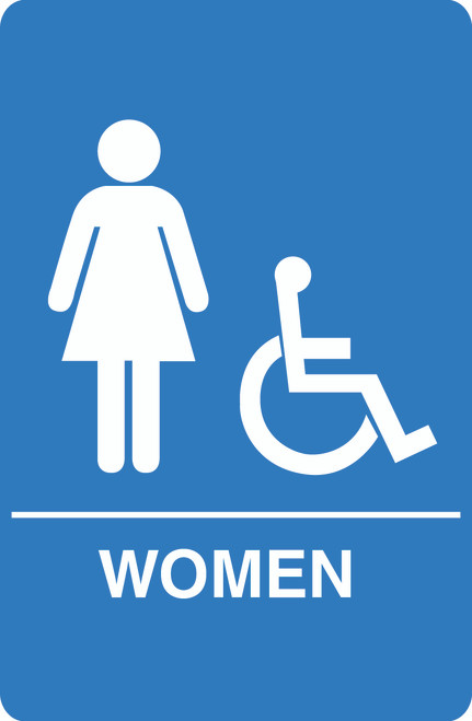 IS1004-15 Blue Handicap Accessible Womens Restroom Sign