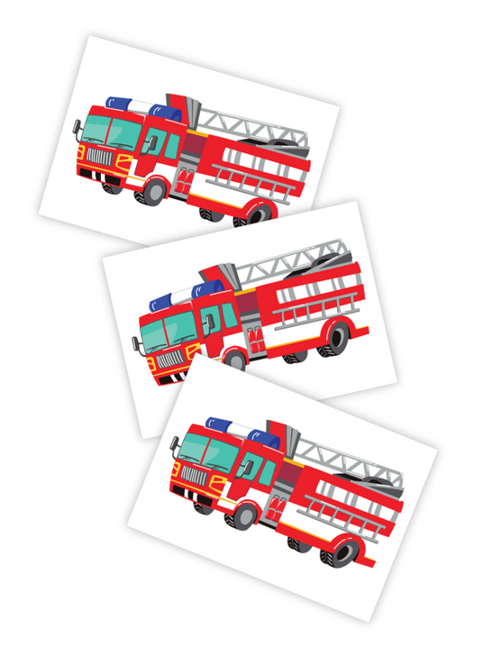 Fire engine toddler kid temporary tattoo truck
