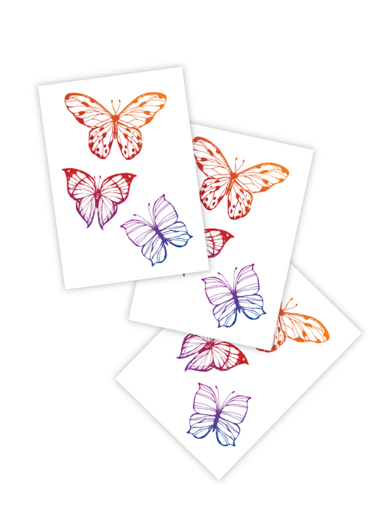 Rainbow Butterflies Temporary Tattoo toddlers and kids