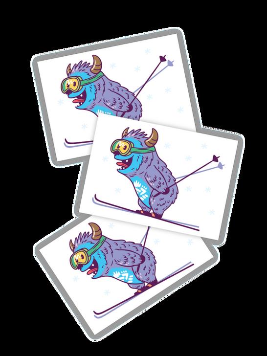 Monster skier temporary tattoos toddler and kids Yeti