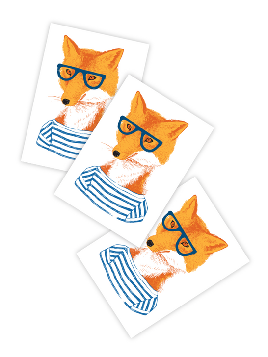 Red fox hipster glasses temporary tattoo for kids and toddler