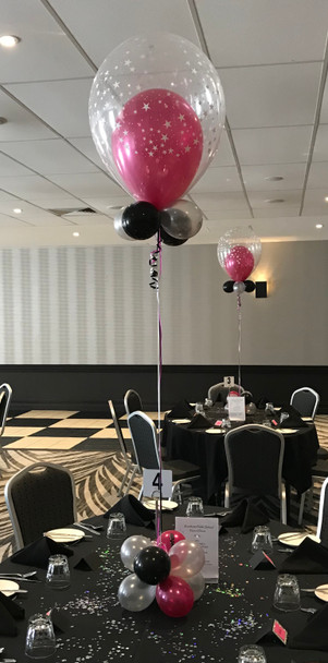 Balloon In A Balloon With Cluster Balloons -  This item can't be purchased online - Please call to arrange delivery.