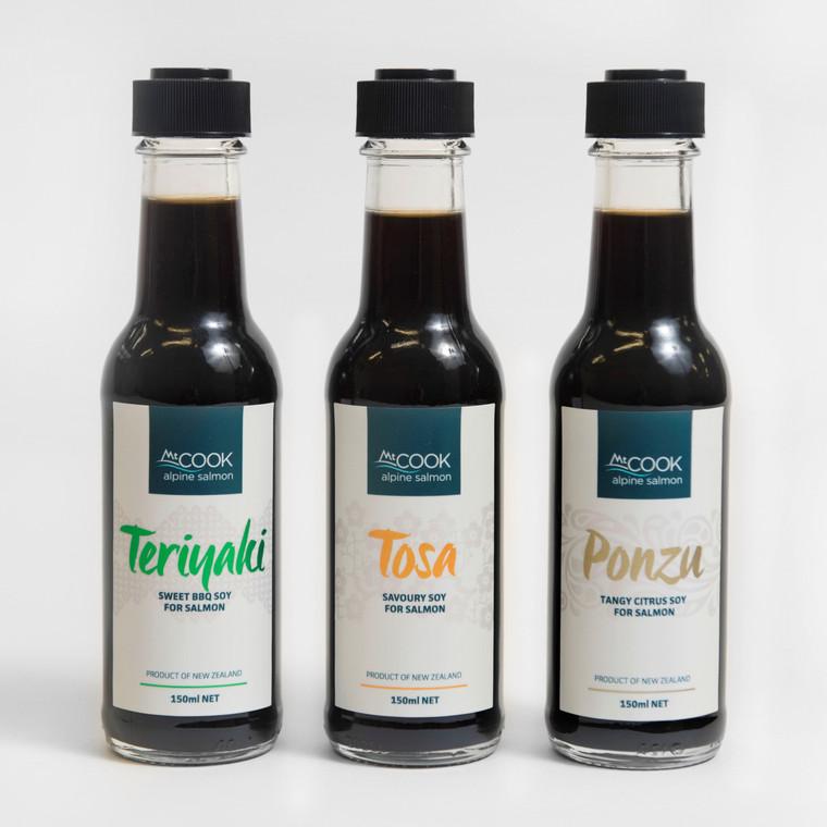 Teriyaki, Tosa and Ponzu soy sauces together