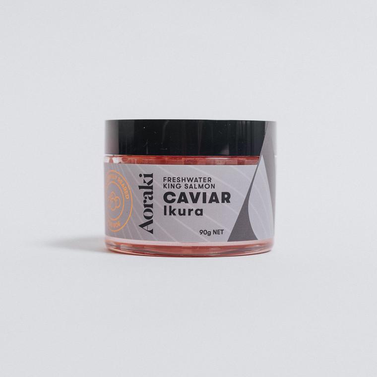 Single jar of 90 gram freshwater king salmon Ikura caviar, frozen