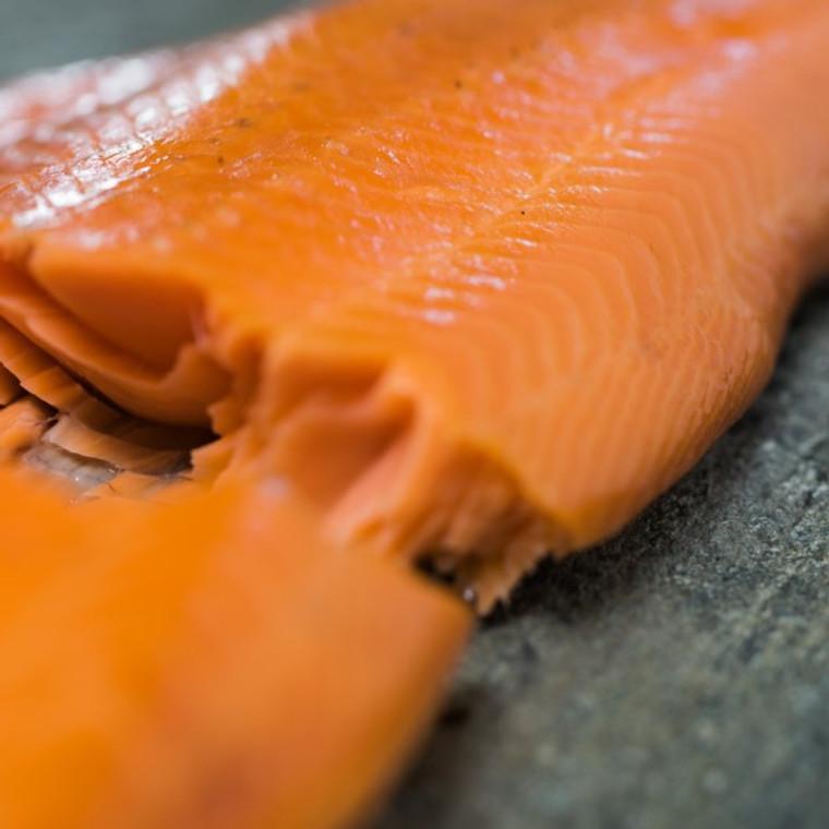 Close-up of hot-smoked freshwater king salmon fillet