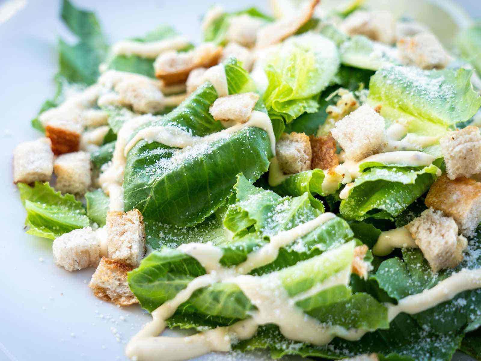 Caesar salad with healthy yoghurt dressing