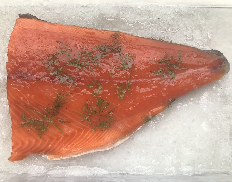 Cured freshwater king salmon (gravlax)